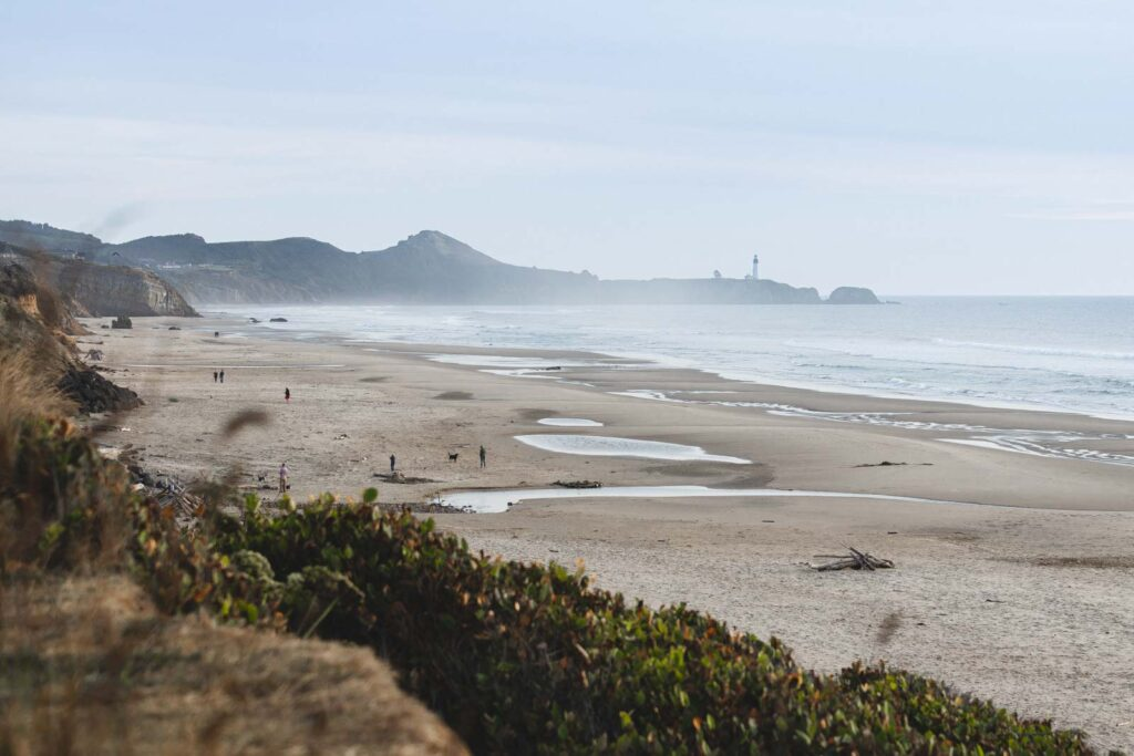 View over Beverly Beach Oregon with hills in background