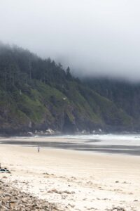 Cape Lookout State Park beach with fog around headland