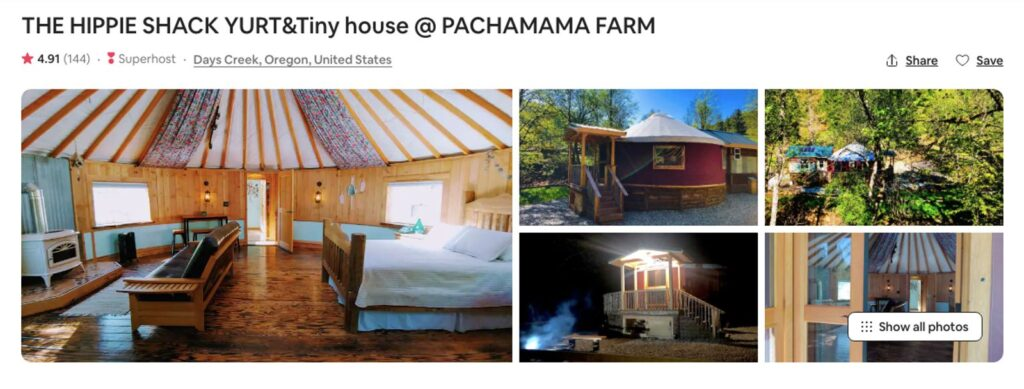 Pictures of Days Creek Oregon Yurt on Airbnb