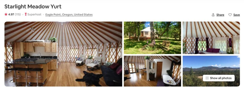 Pictures of Eagle Point Oregon Yurt on Airbnb