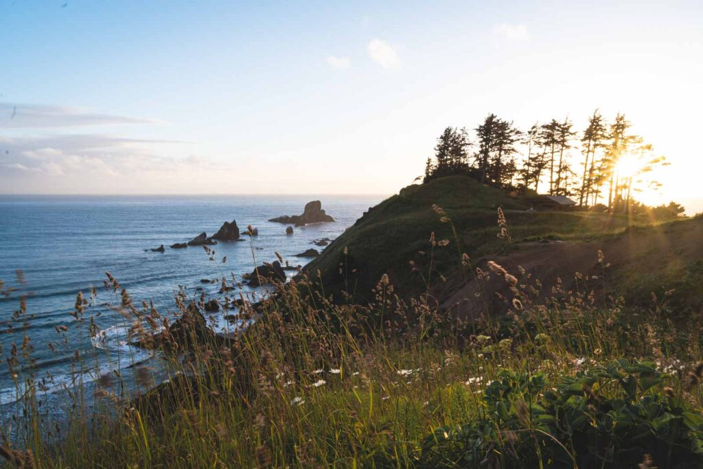View of coastline and sea at Ecola State Park, one of the best things to do in Seaside Oregon