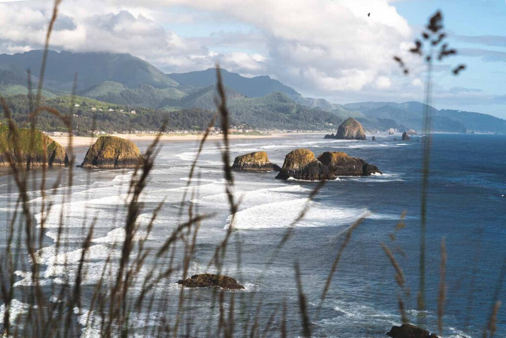 View over beach and rock islands of Ecola State Park, one of the best things to do in Astoria
