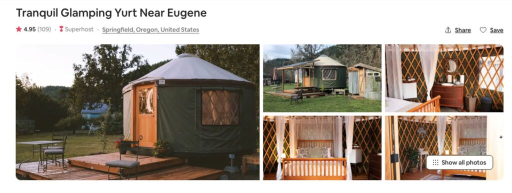 Airbnb photos of one of the Oregon Yurts near Eugene