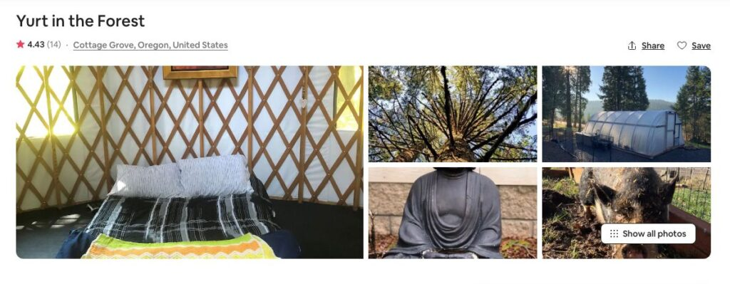 Airbnb screenshot for Forest Yurts, one of the yurts rentals on the Oregon Coast