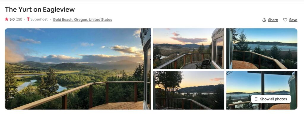 Airbnb pictures of Gold Beach Oregon Yurt