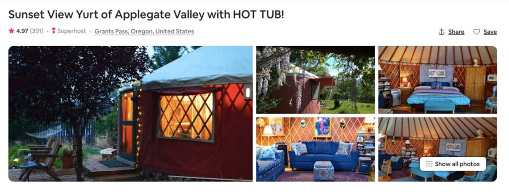 Airbnb photos of one of the Oregon Yurts near Grants Pass