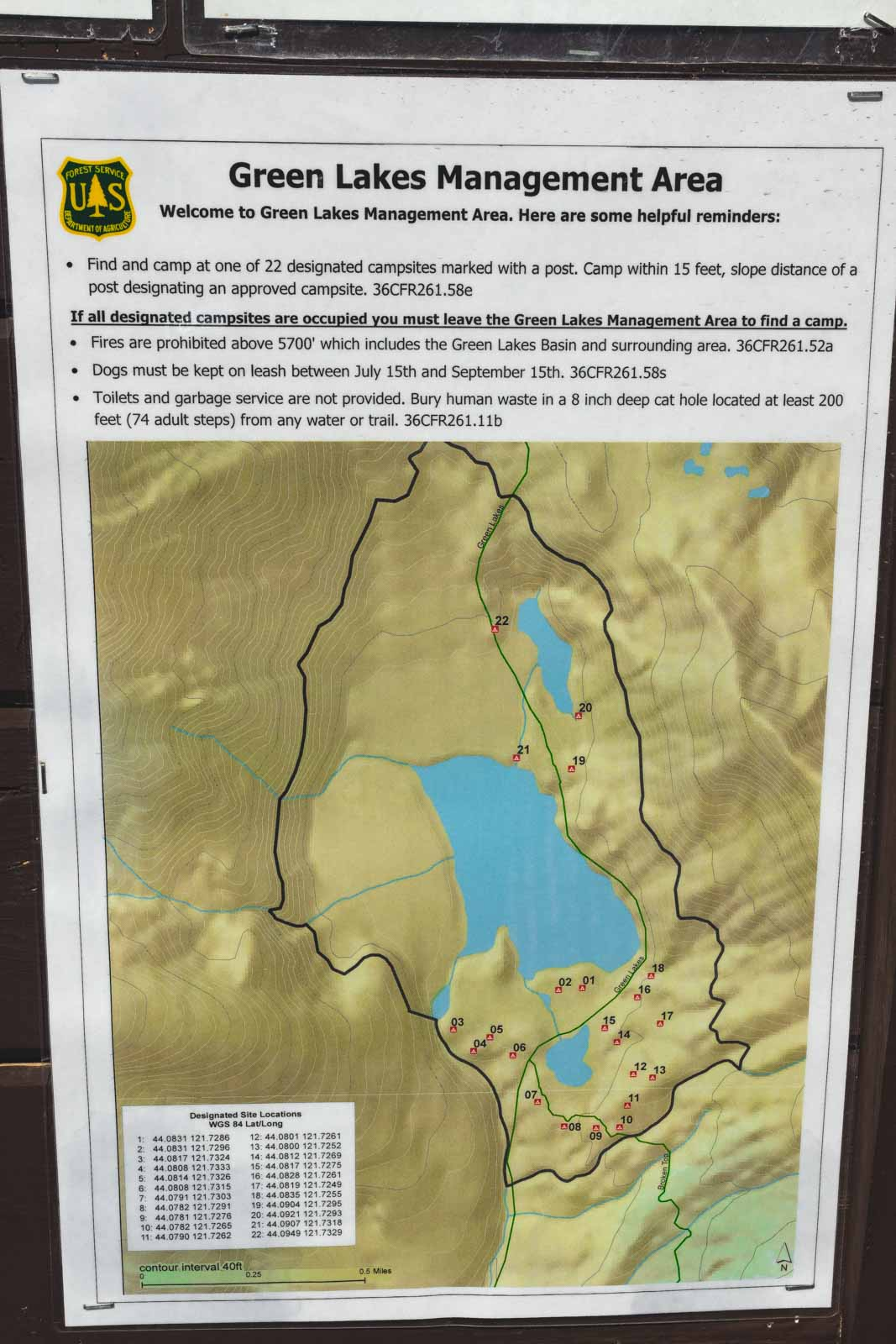 Map of Green Lakes trail camping sites