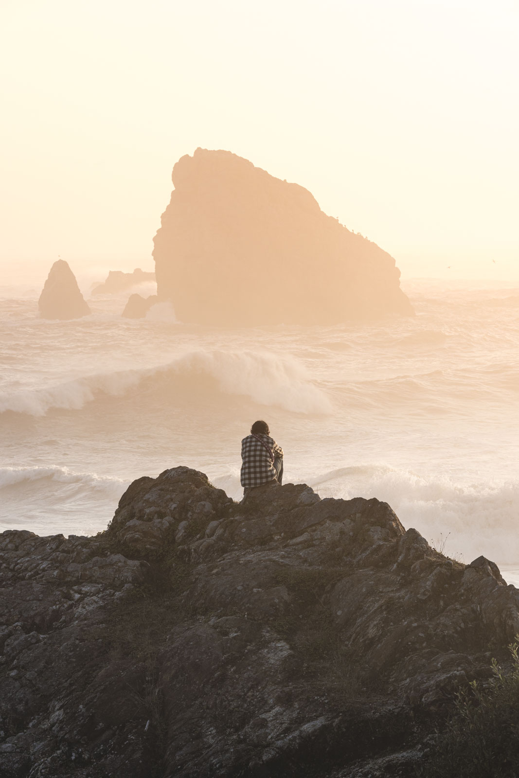 Man sitting and looking out to foggy sea at Harris Beach State Park