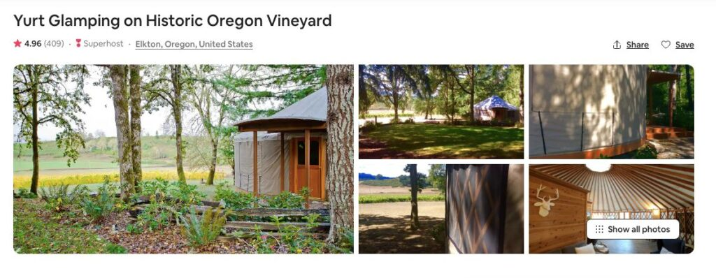 Airbnb screenshot of Historic Vineyard Yurt, one of the best yurts on the Oregon Coast