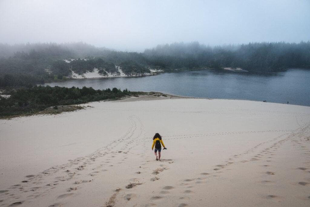 Person walking on beach in the distance at Jessie M. Honeyman State Park