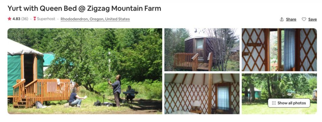 Airbnb pictures of one of the Oregon Yurts near Mount Hood