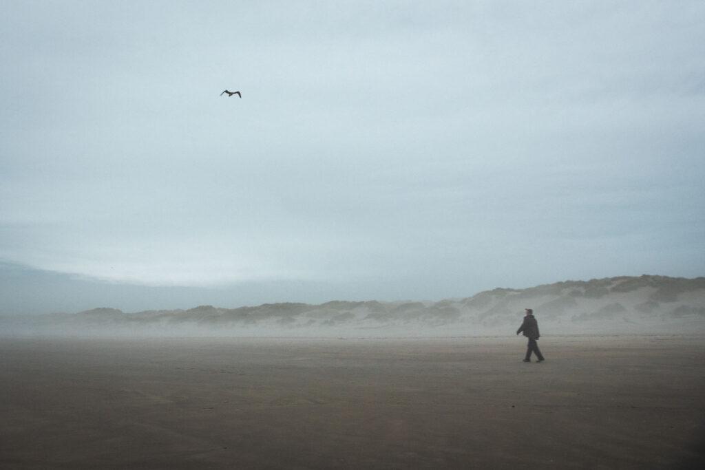 Person walking on Nehalem Beach in Oregon