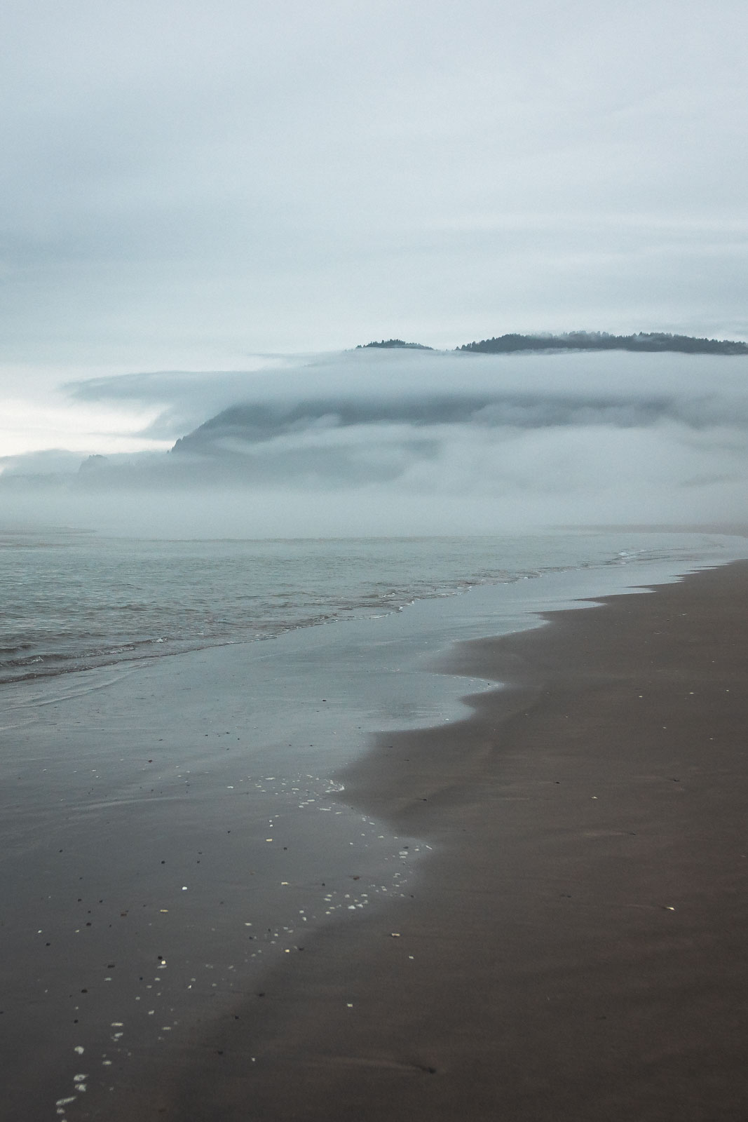Beach with low cloud at Nehalem Bay State Park in Oregon