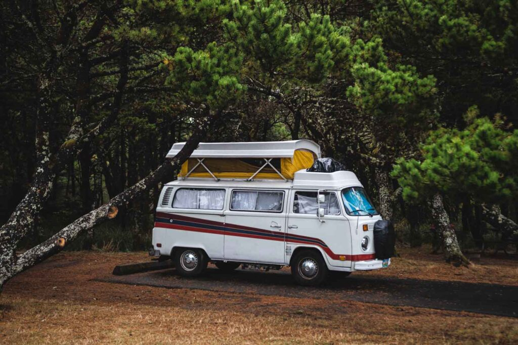 VW van at Nehalem Bay State Park Campground on the Oregon Coast