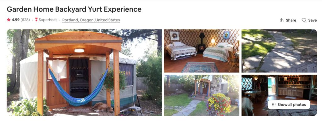 Airbnb pictures of one of the Oregon yurts near Portland