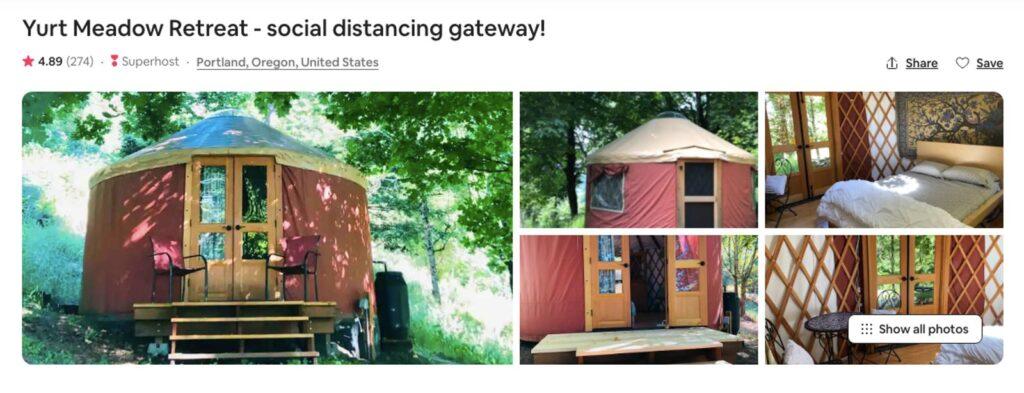 Meadow Retreat Yurt, one of the Oregon Yurts near Portland