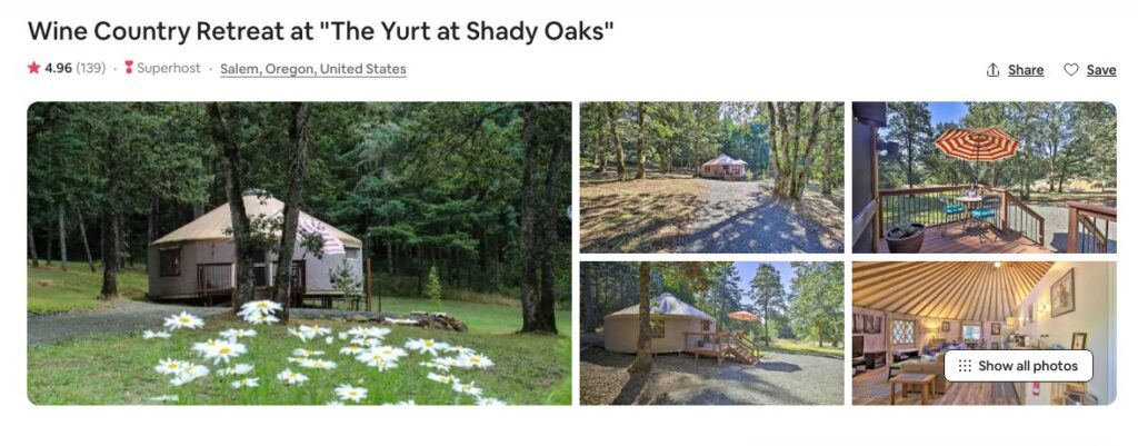 Airbnb screenshot of Retreat at Shady Oaks - one of the best yurt rentals on the Oregon Coast