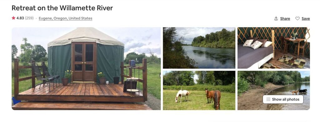 Airbnb screenshot of retreat on Willamette river yurt - one of the best yurts on the Oregon Coast