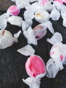 A handful of freshly made delicious salt water taffy from Seaside Oregon