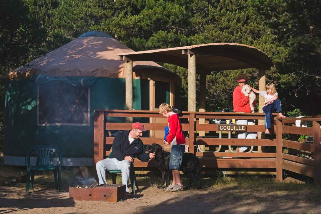 South Beach State Park yurt with people around it - one of the best yurts on the Oregon Coast