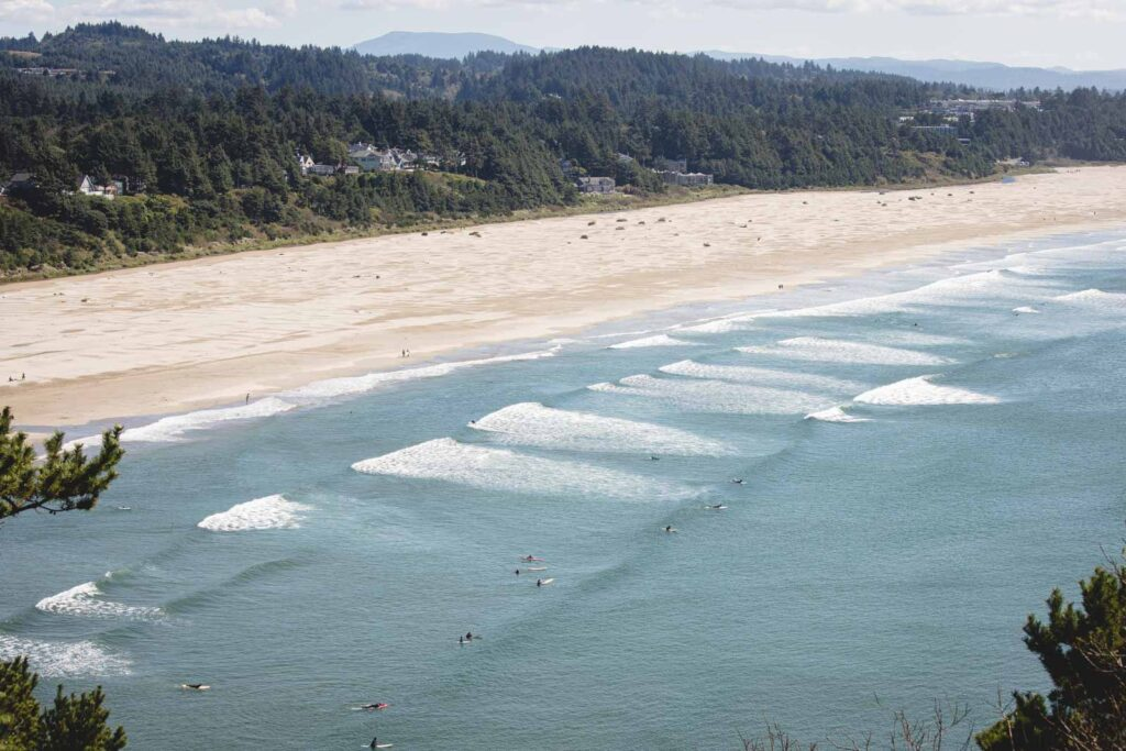 View over beach and ocean at Agate Beach where surfing is one of the best things to do in Newport Oregon
