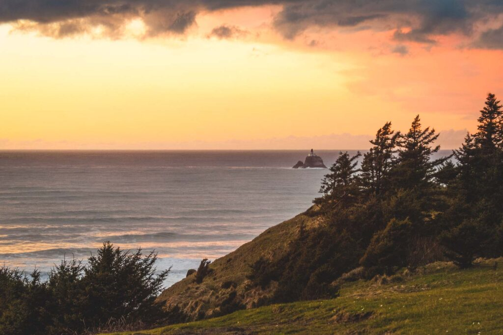 View over Tillamook Head and ocean during sunset