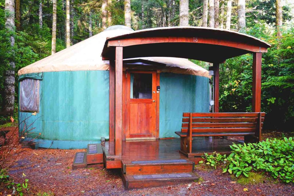 Umpqua Lighthouse State Park Yurt in forest - one of the best yurts on the Oregon Coast