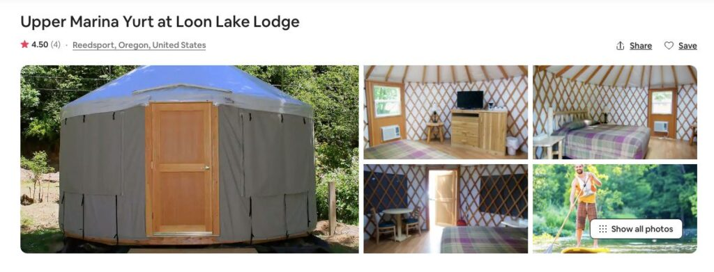 Airbnb screenshot of Upper Marina Yurt - one of the top yurt rentals on the Oregon Coast