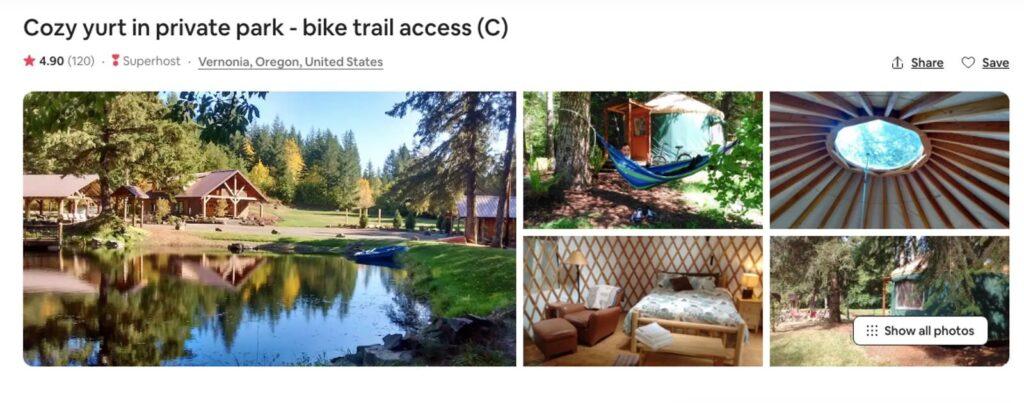 Airbnb Yurt, one of the Oregon Yurts near Portland