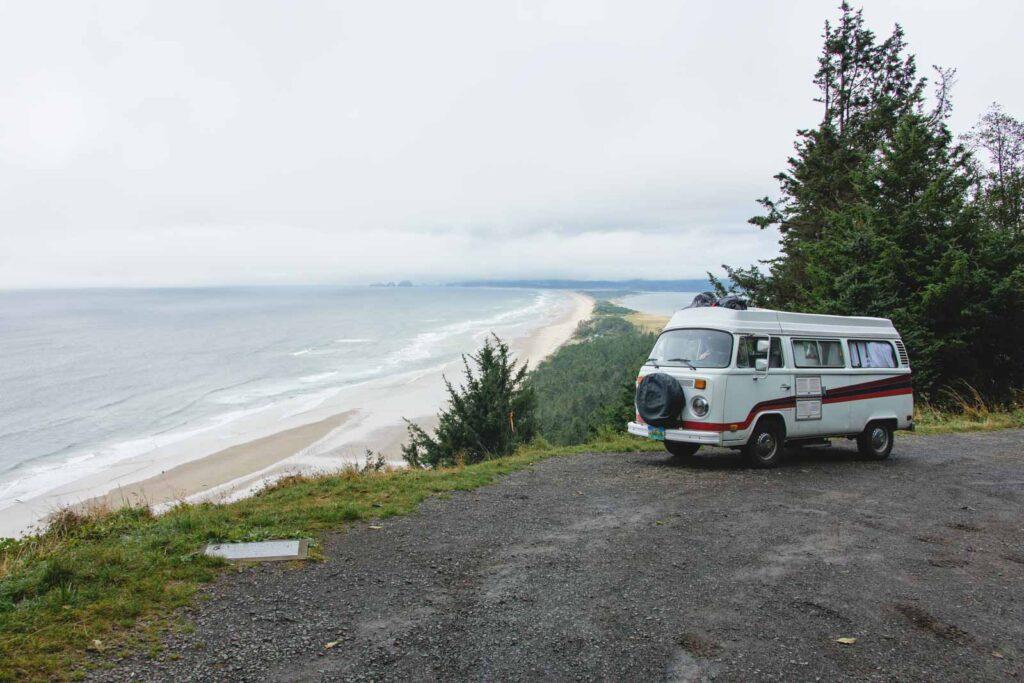 VW Van at beach overlook at Cape Lookout in Oregon