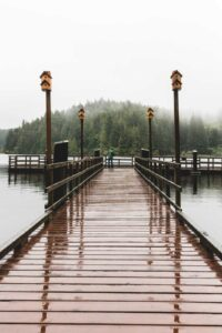 Fishing pier wet with rain at William Tugman State Park