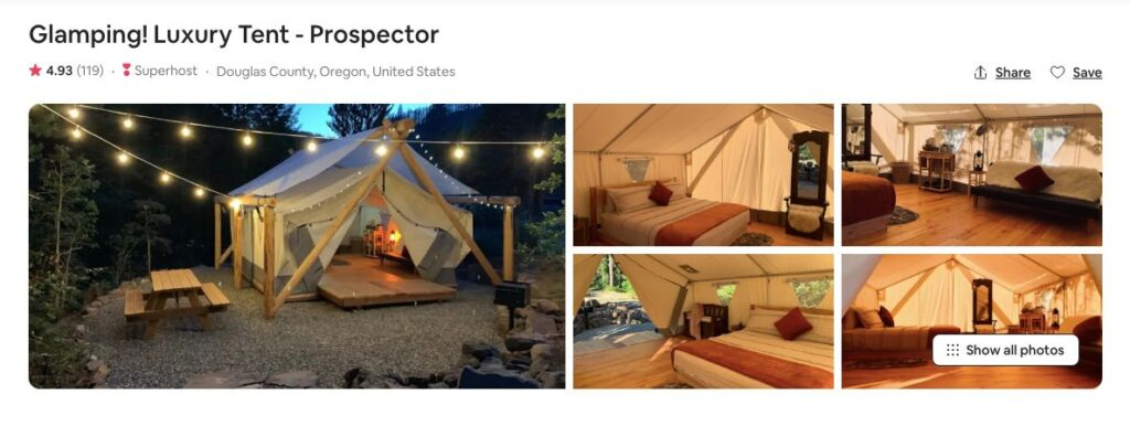 Screenshot of Airbnb for Prospector luxury tent glamping in Oregon