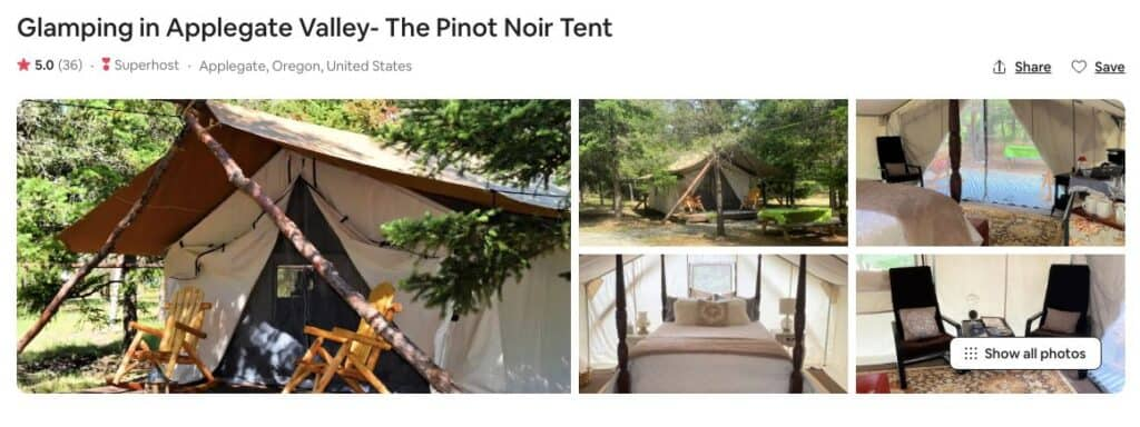Screenshot of Airbnb for Applegate Valley Glamping in Oregon Pinot Noir tent