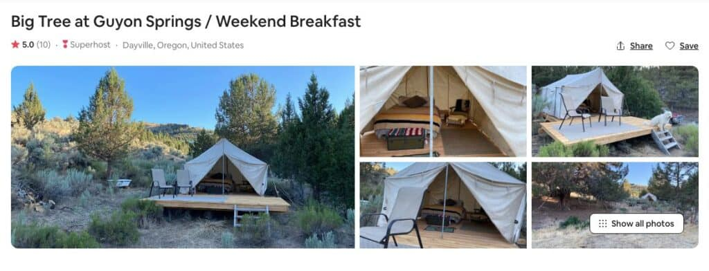 Screenshot of Airbnb for Big Tree Glamping in Oregon site