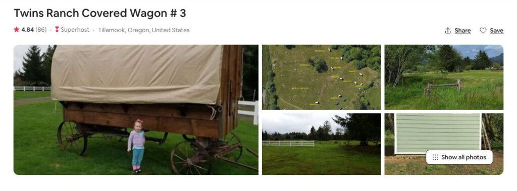Screenshot of Airbnb for Covered Wagon Glamping in Oregon site