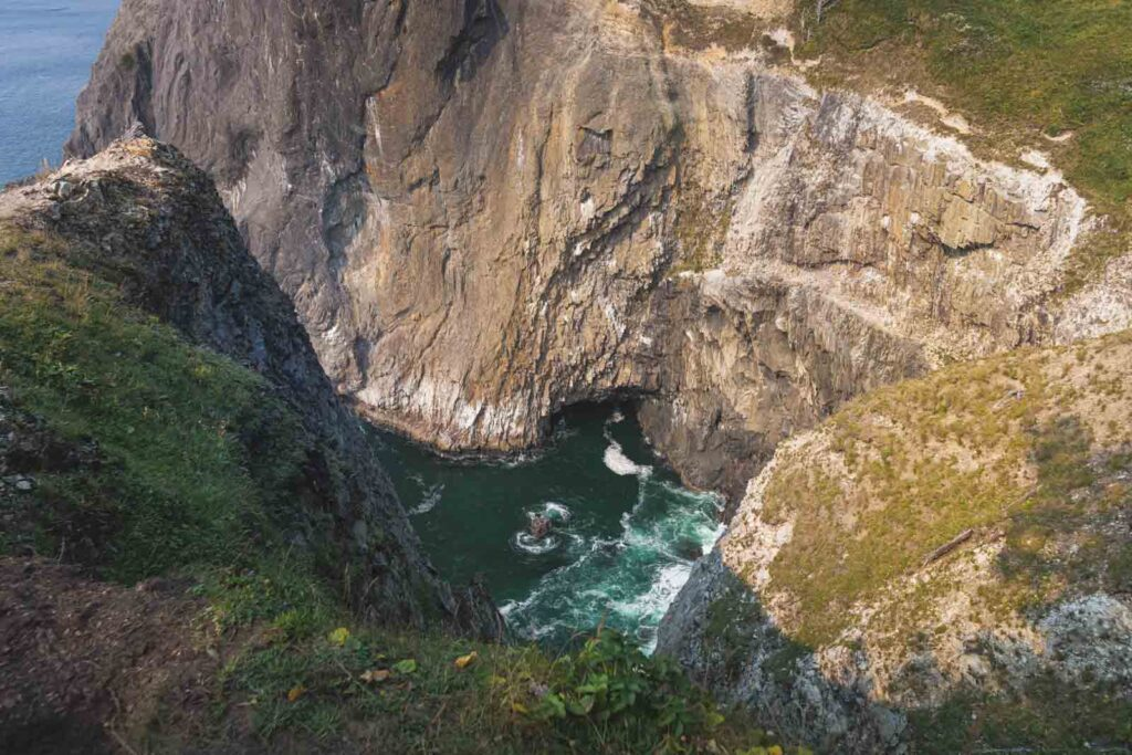 View from cliff of Devil's Cauldron - one of the best things to do in Cannon Beach