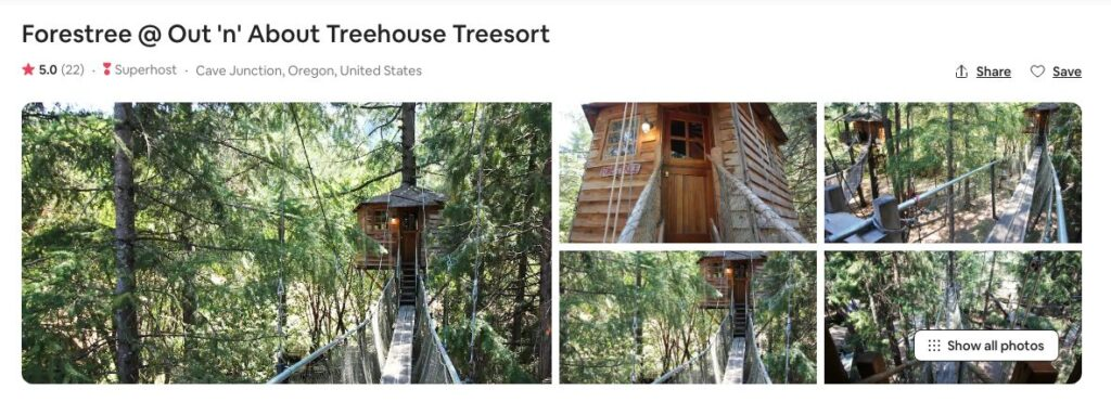 Screenshot of Airbnb for Forestree Treehouse Glamping in Oregon site