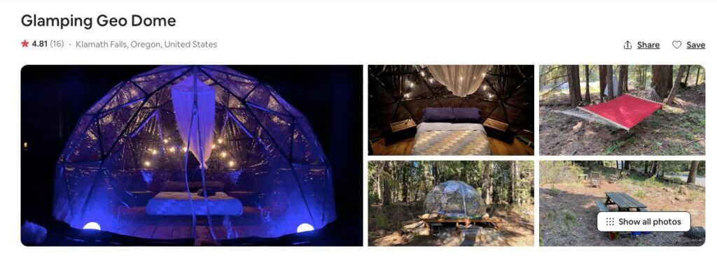 Screenshot of Airbnb for Geo Dome Glamping in Oregon