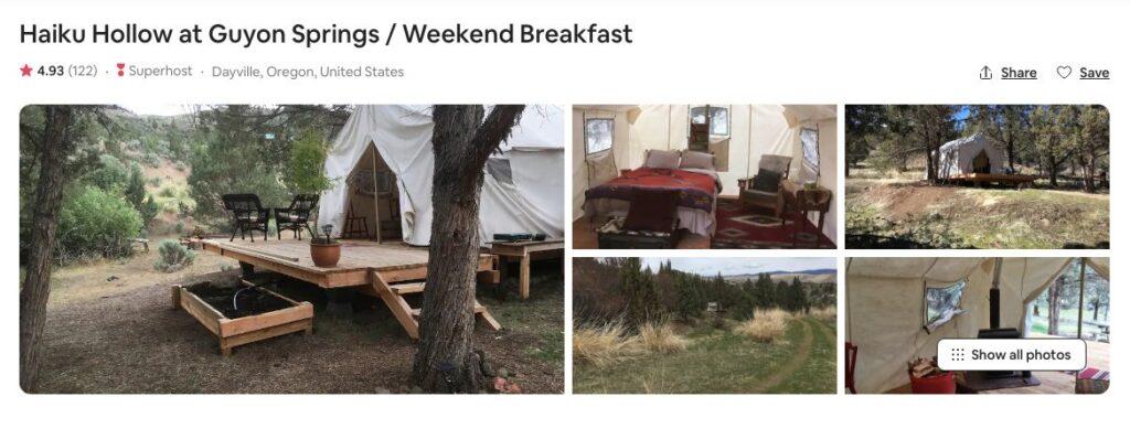 Screenshot of Airbnb for Haiku Hollow Glamping in Oregon