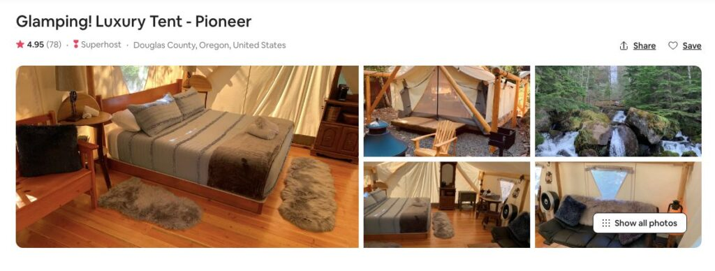 Screenshot of Airbnb for luxury pioneer tent glamping in Oregon