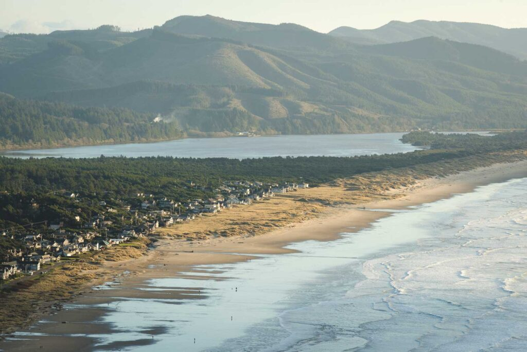 Aerial view of Manzanita, Oregon, Nehalem Bay, and the Pacific Coast