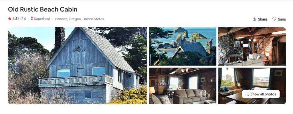 Airbnb screenshot of Old Rustic Beach cabin in Oregon