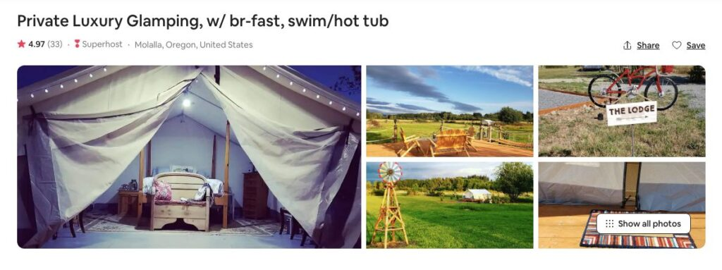 Screenshot of Airbnb for private luxury glamping in Oregon