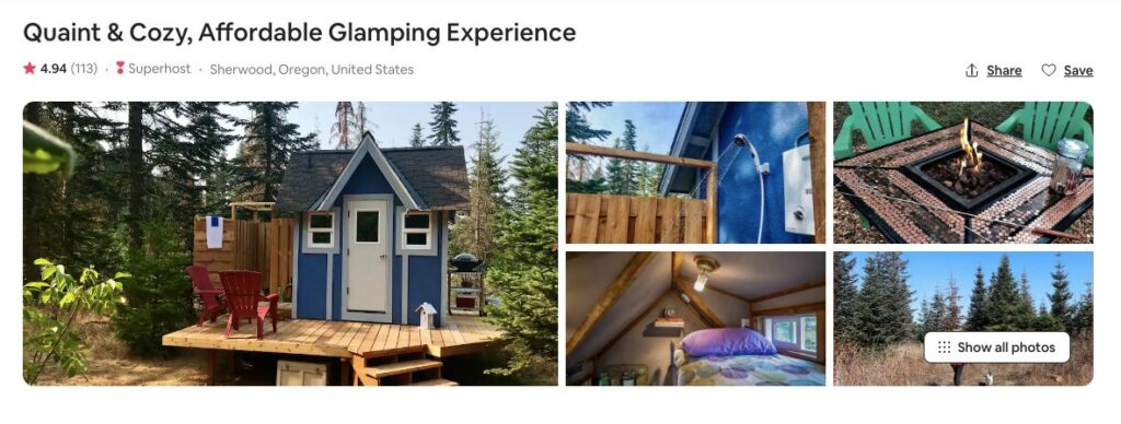 Screenshot of Airbnb for quaint and cozy glamping in Oregon