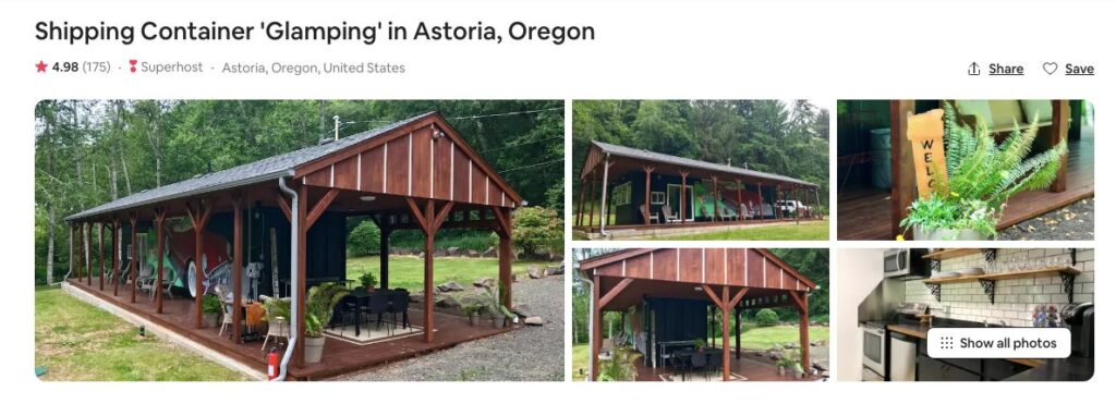 Screenshot of Airbnb for Shipping Container glamping in Oregon