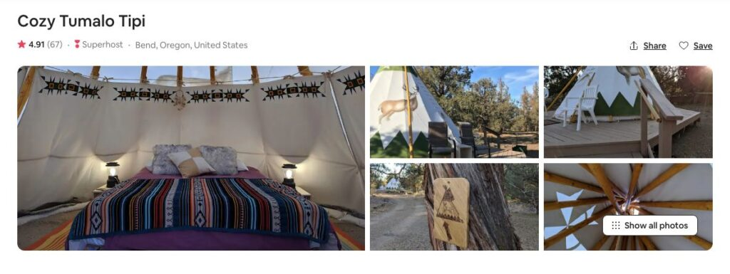 Screenshot of Airbnb for Tumalo Tipi glamping in Oregon