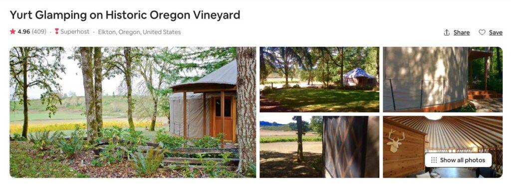 Screenshot of Airbnb for vineyard yurt glamping in Oregon