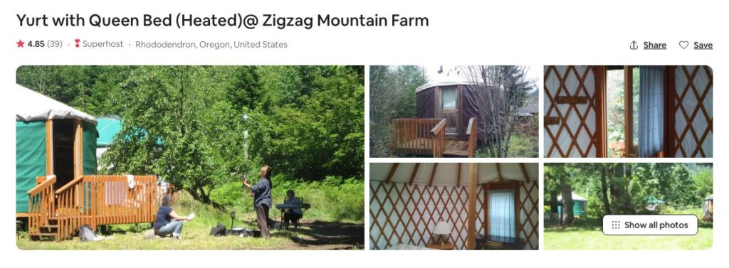 Screenshot of Airbnb for Zigzag Mountain yurt glamping in Oregon