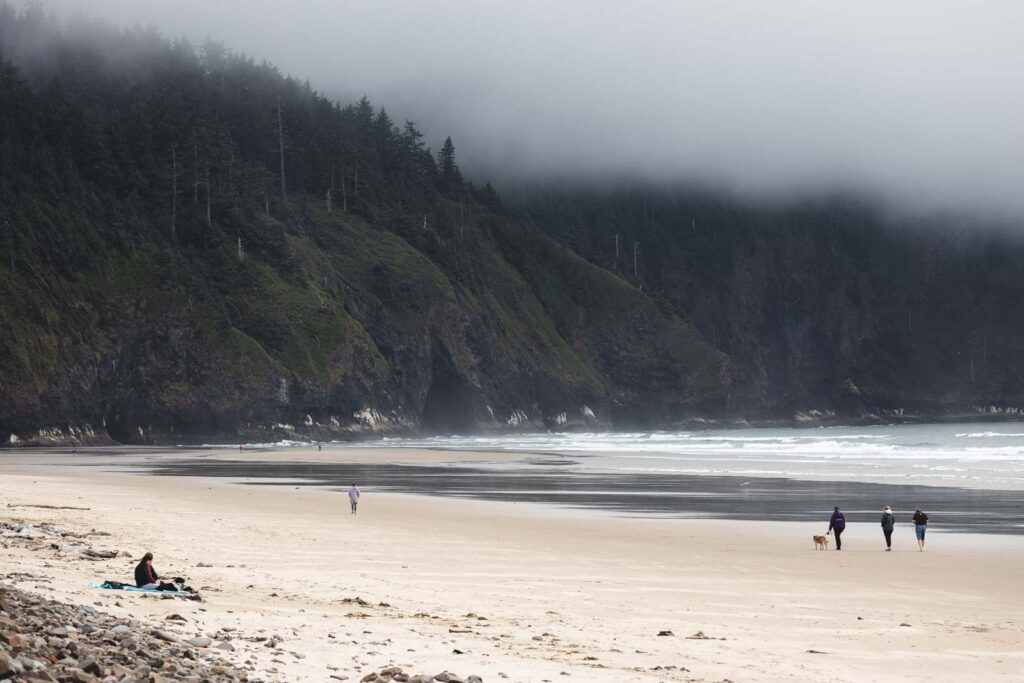 Beach with a few people on it, with green headland in background and fog at Cape Lookout