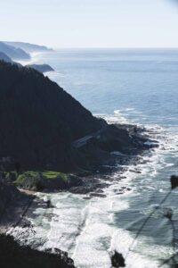Looking out over headland, beach and ocean of Cape Perpetua in Oregon